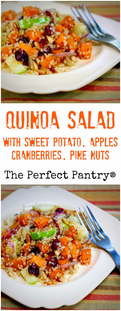 Quinoa salad with sweet potato, apples, cranberries and pine nuts brings together all of the flavors of Fall. #vegan #glutenfree