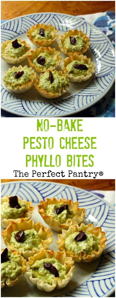 No-bake pesto cheese phyllo bites: a super-easy appetizer! #vegetarian