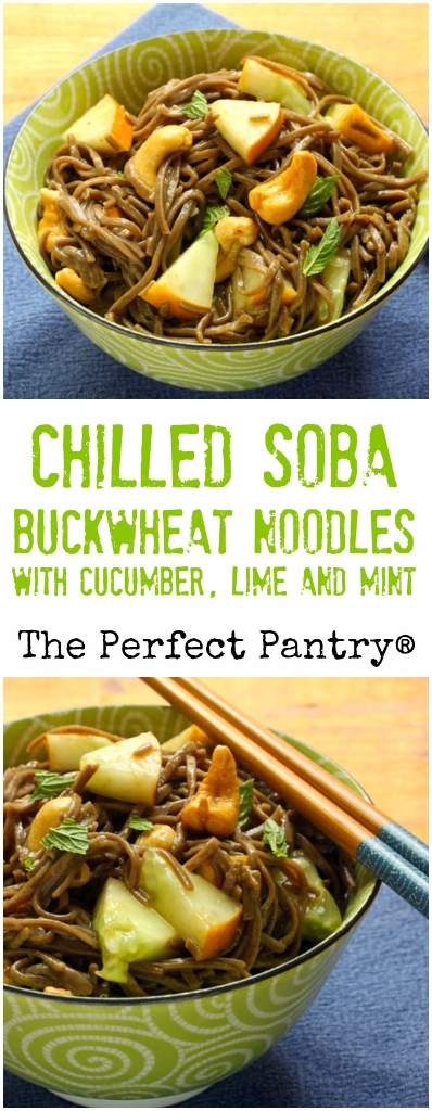 Chilled soba (buckwheat) noodles get a tangy boost from lime and mint. #vegan
