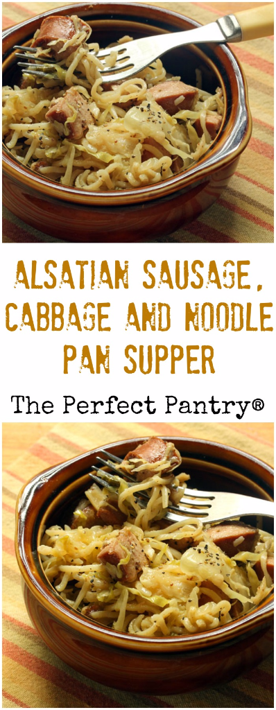 Alsatian sausage, cabbage and noodle pan supper comes together in less than 30 minutes, with a bit of inspiration from France.