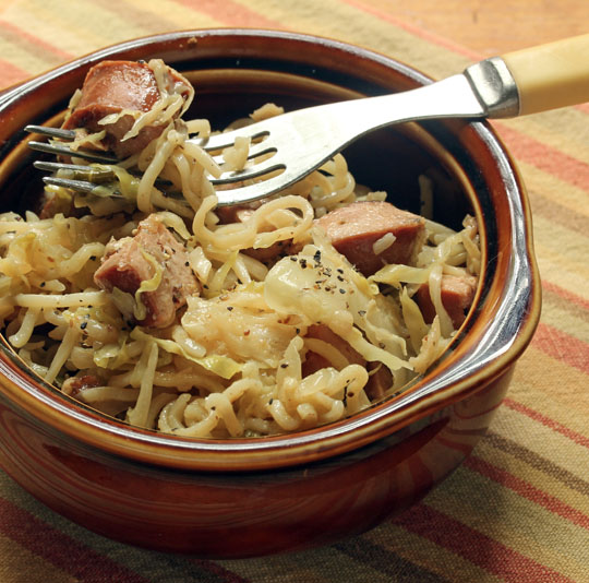 With inspiration from northeast France, this pan supper brings together sausage, cabbage and noodles in a quick and easy weeknight pan supper.