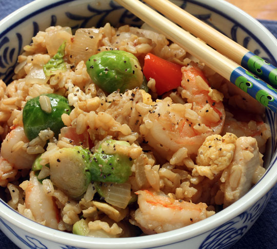 Shrimp and chicken fried brown rice takes your favorite restaurant special to a new level.