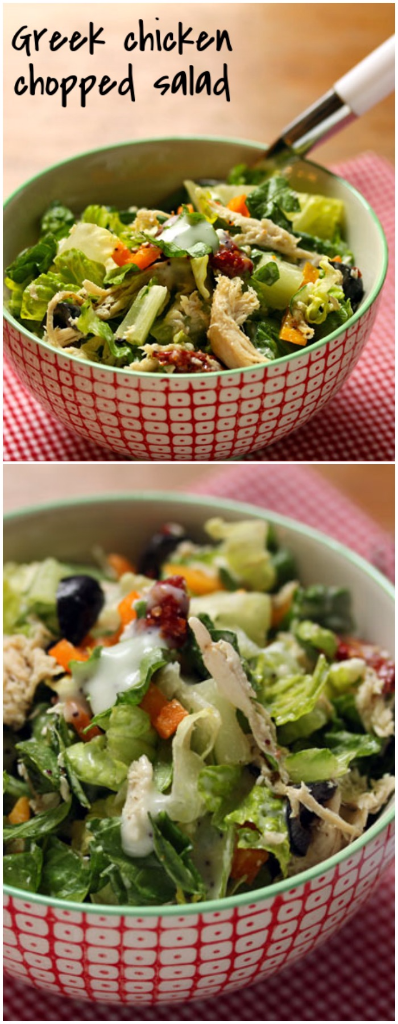 Greek chicken chopped salad is a real meal-in-a-bowl.