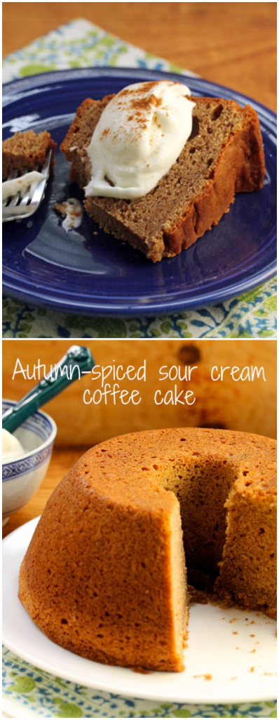 Autumn-spiced sour cream coffee cake, a make-ahead-and-freeze dessert for the holiday season.