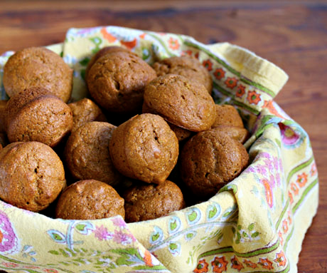 Pumpkin-pecan mini muffins, for the holiday table.