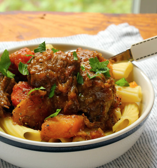 Get your slow cooker on for this sweet and sour beef stew with carrots and butternut squash.