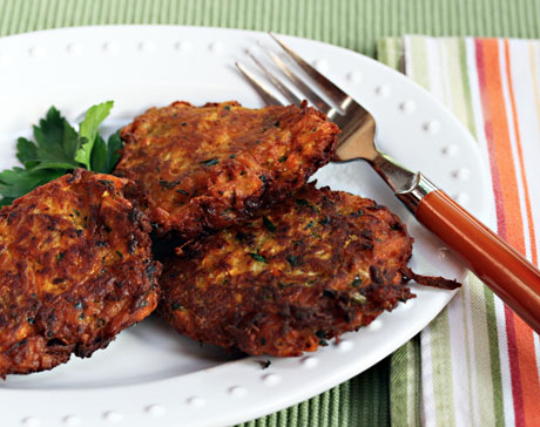 Sweet potato pancakes (latkes), a modern variation on tradition. #vegetarian