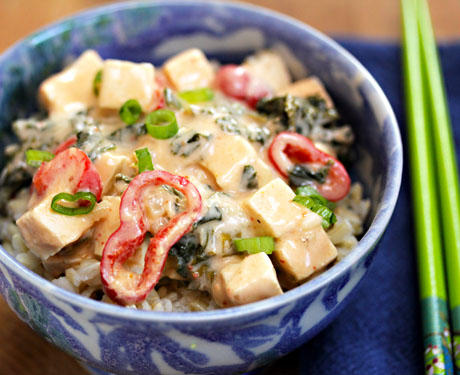 Red curry tofu and kale with brown rice. #vegan