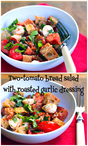 Two-tomato bread salad, perfect for the transition from summer to fall.