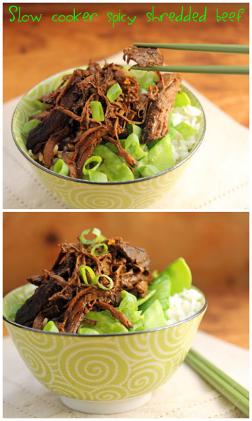 Slow cooker spicy shredded beef with garlic, soy and ginger. #crockpot