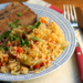 Spanish rice with onion, garlic and bell peppers {gluten-free}