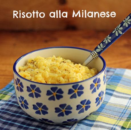 Risotto alla Milanese, with saffron and parmesan cheese.