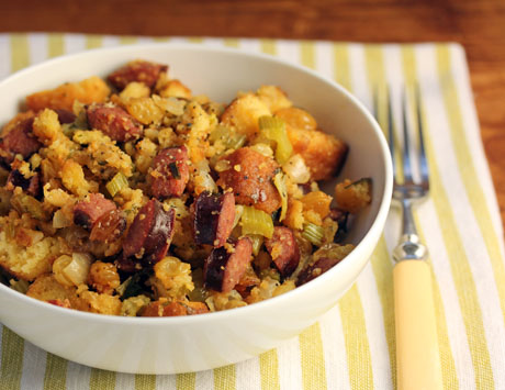 Cornbread stuffing with sausage and raisins, from The Perfect Pantry.