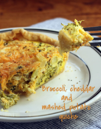 Broccoli, cheddar and leftover mashed potatoes in a breakfast or supper quiche. #vegetarian