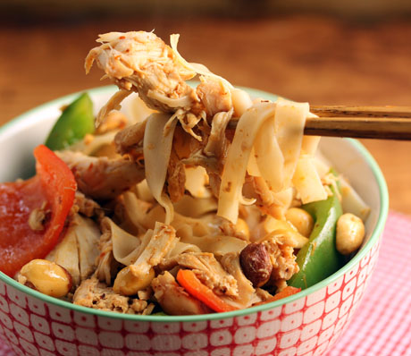 Spicy turkey, bell pepper and noodle stir fry: make it with leftover turkey and lots of heat.