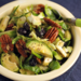 Shredded Brussels sprouts salad with dried blueberries, pecans, and maple-miso dressing {vegan}