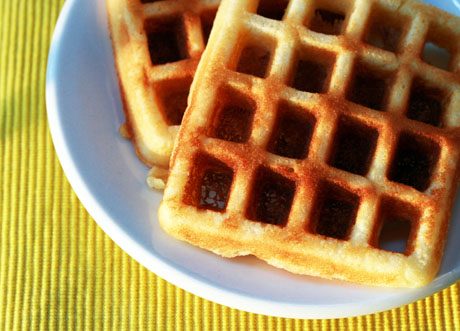Lemon yogurt waffles, perfect for brunch.