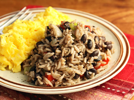 Gallo pinto (black beans and rice), a wonderful breakfast dish with scrambled eggs. One of The Perfect Pantry's Top 14 recipes of 2014.
