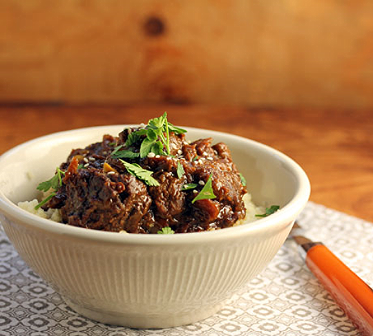 Moroccan beef tagine with apricots, onions, and a hint of cinnamon.