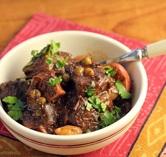 French-style beef stew with onions, mushrooms and peas, and lots of red wine!