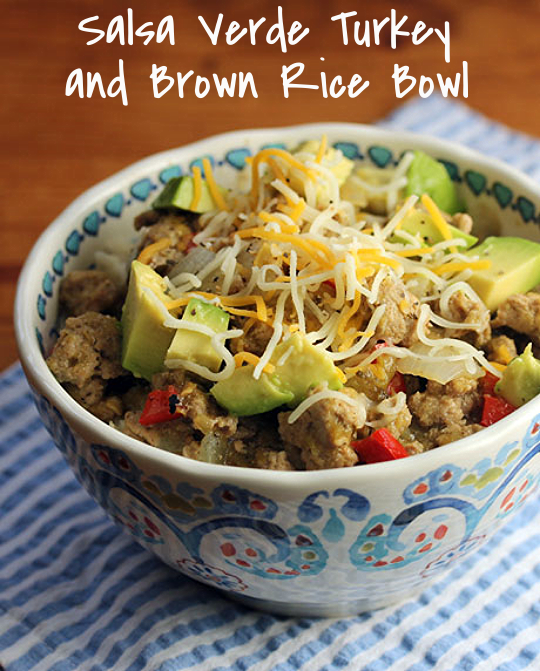 Use your favorite green salsa to make this salsa verde turkey and brown rice bowl. Top it with avocado and cheese! #glutenfree