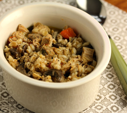 Make this pressure cooker barley soup on the stovetop, and use your favorite chicken sausage.