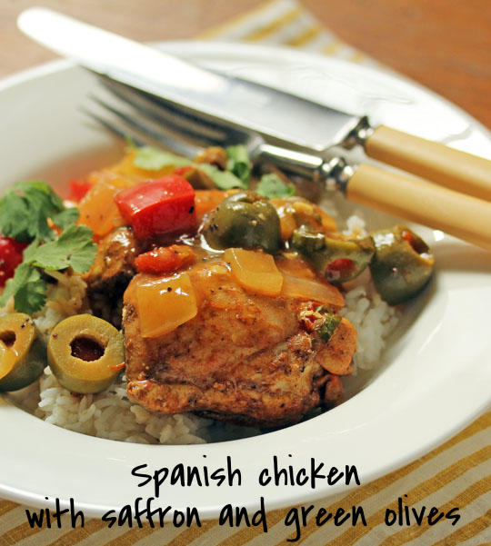 Spanish chicken with saffron and green olives, a perfect party dish.