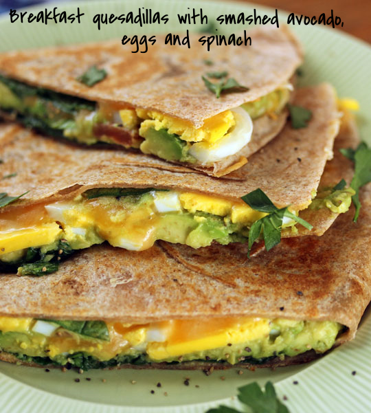 Tuck some dark leafy greens and creamy avocado into a breakfast quesadilla! Add some hot sauce for a kick. [ThePerfectPantry.com]