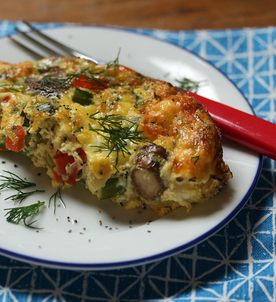 Serve this asparagus, mushroom and goat cheese breakfast casserole for a brunch party.