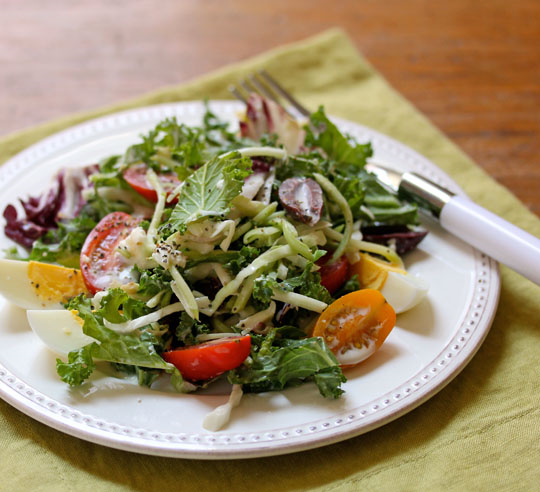 Serve this baby kale and cabbage salad as a main dish or side.