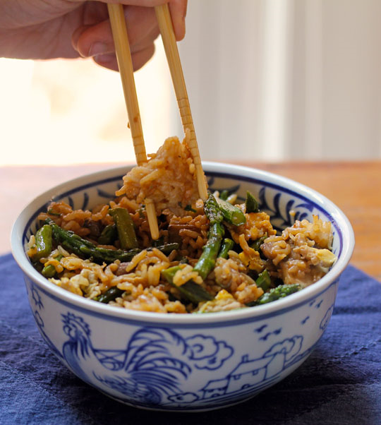 Asparagus and mushroom fried rice, a quick and easy main dish.