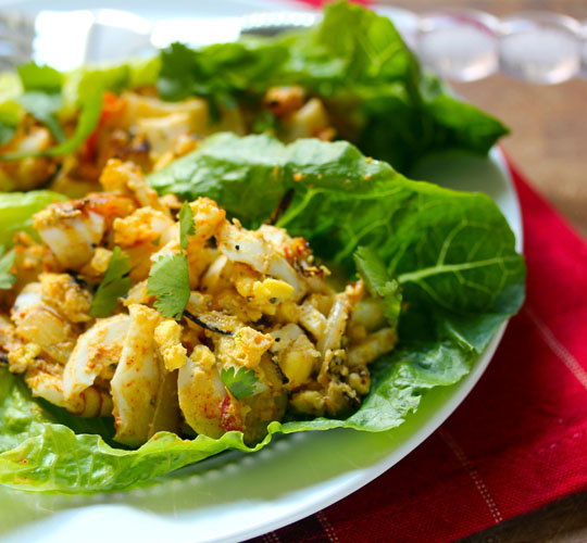 Smoky egg salad lettuce boats, a picnic-perfect twist on the classic.