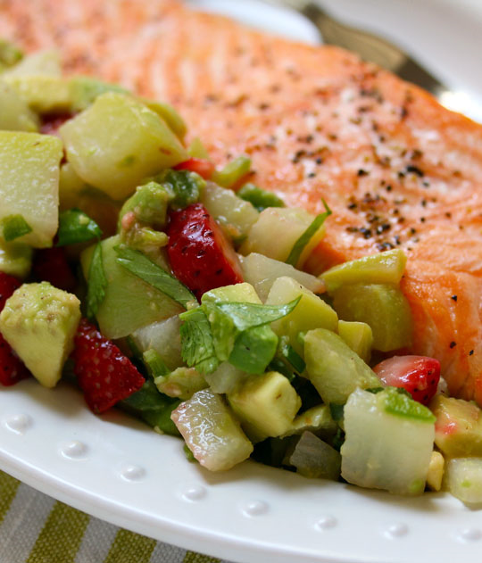 Chayote squash, avocado and strawberry salsa, perfect with fish or grilled chicken.