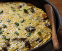 Sausage, pepper and mushroom frittata, a riff on a traditional New England sandwich.
