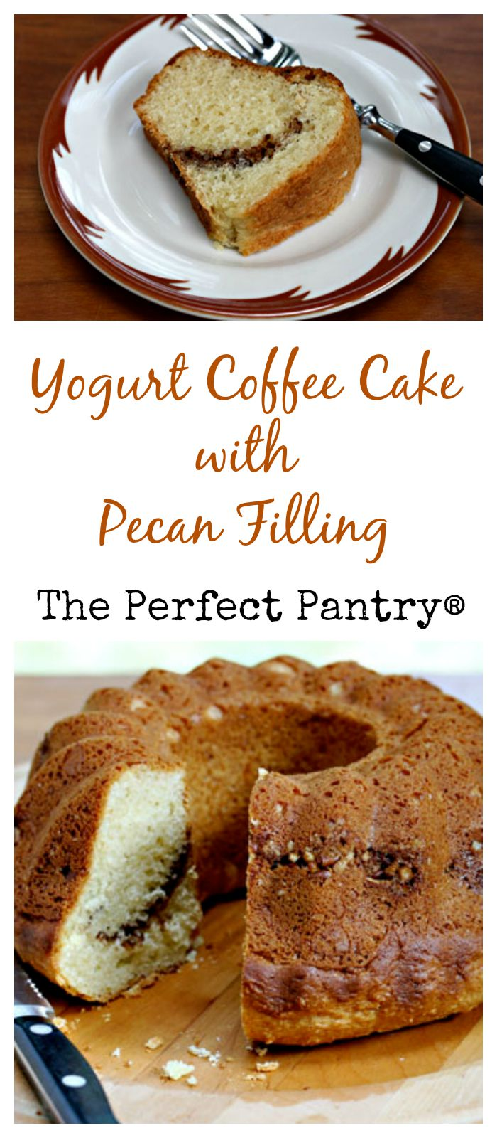 Yogurt coffee cake with pecan filling freezes so well. Keep one on hand for drop-in visitors! From The Perfect Pantry.