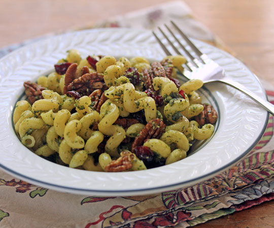 Combine a fresh tarragon pesto with sweet dried cranberries and crunchy pecans. #vegetarian