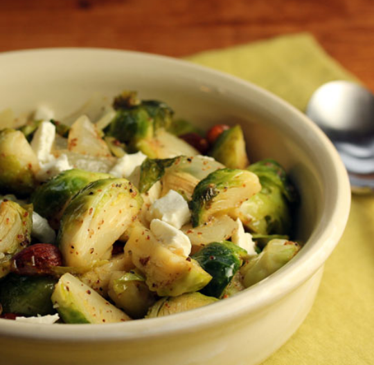 Make this warm Brussels sprouts salad with or without the cheese. #glutenfree