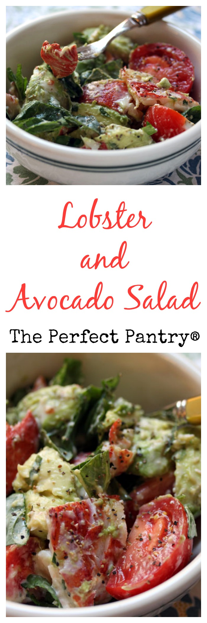 Lobster and avocado salad is easy to make, and fancy enough to serve to guests! From ThePerfectPantry.com