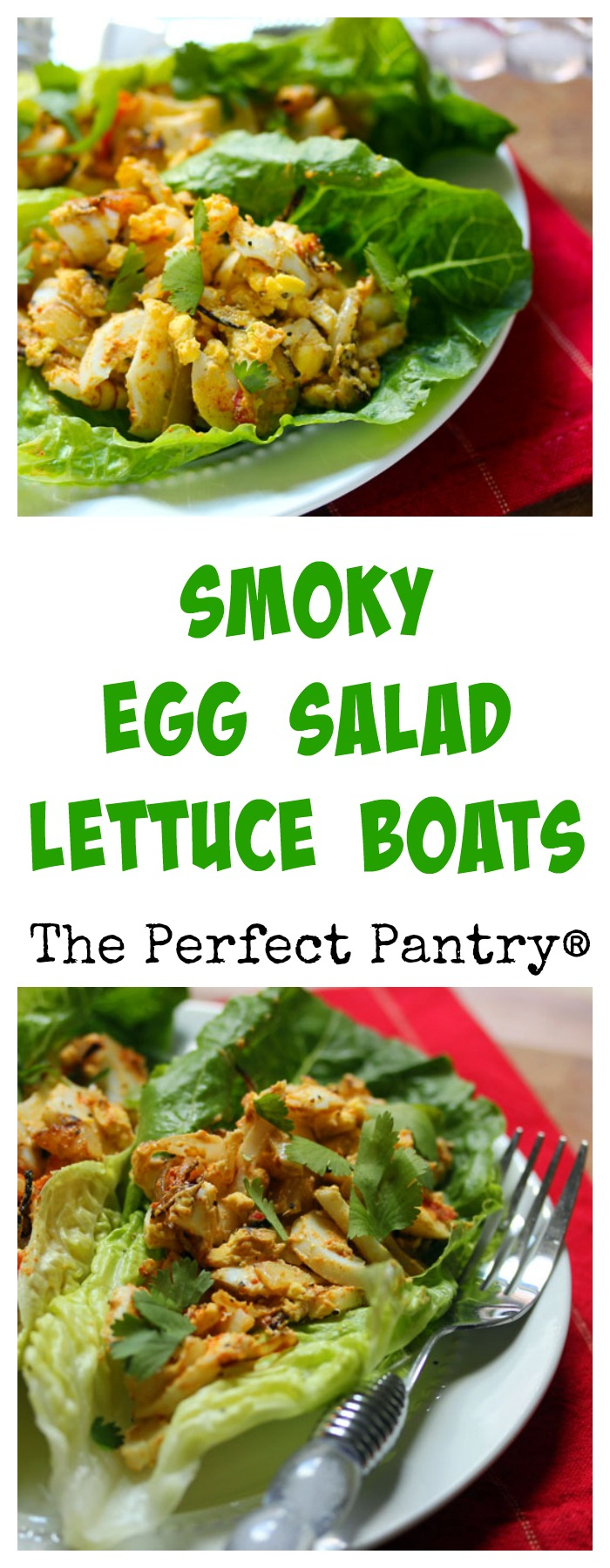Smoky egg salad lettuce boats with caramelized onions. #vegetarian