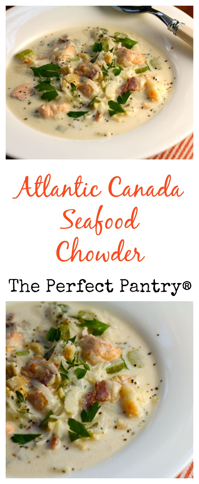 Atlantic Canada seafood chowder: rich, thick, and gluten-free.