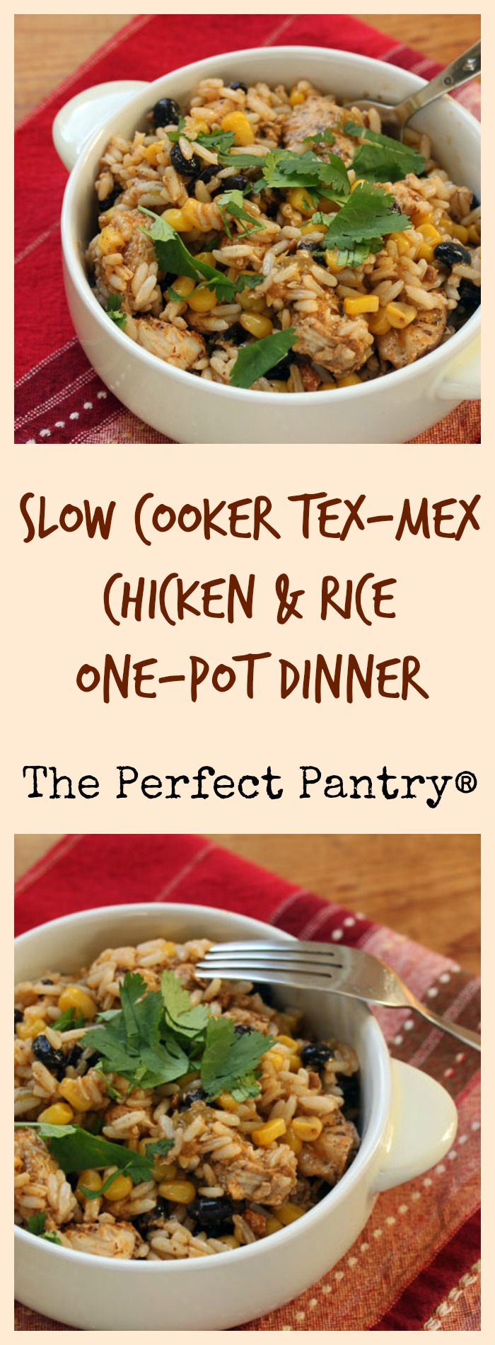 An easy one-pot dinner from your crockpot: Tex-Mex chicken and rice with corn and black beans.