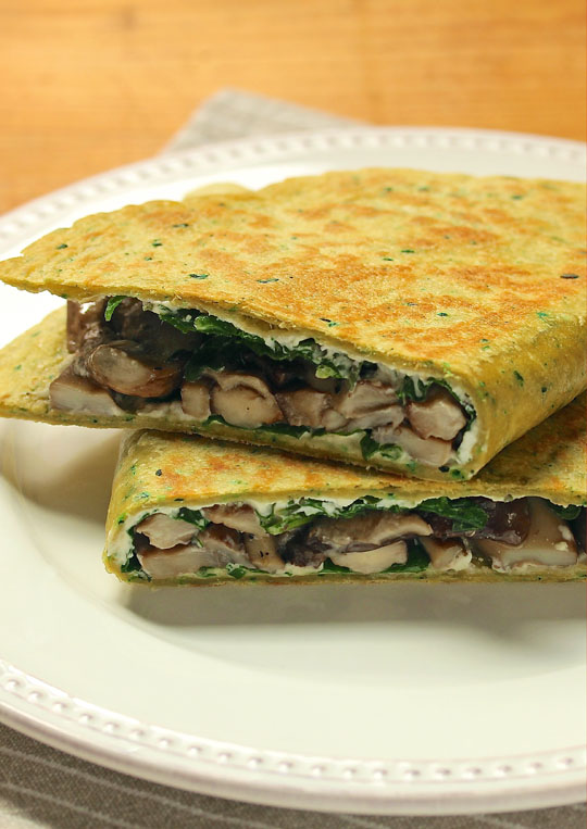 A spinach tortilla adds even more dark leafy greens to this woodsy mushroom quesadilla! #vegetarian [ThePerfectPantry.com]