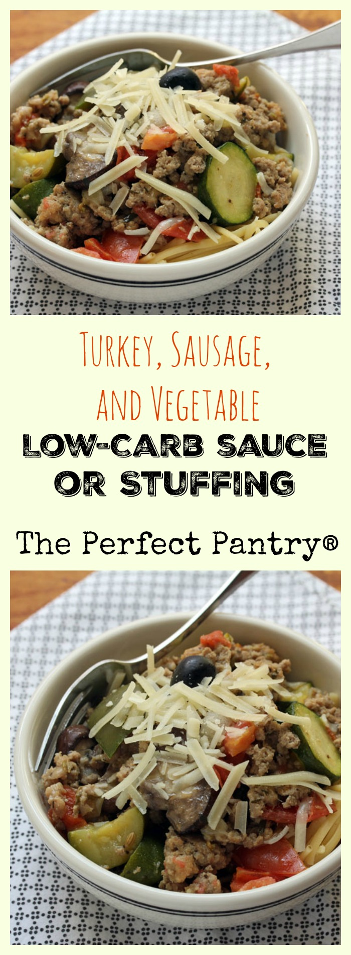 Turkey, sausage, and vegetable low-carb sauce makes a great stuffing for zucchini boats or peppers. ThePerfectPantry.com