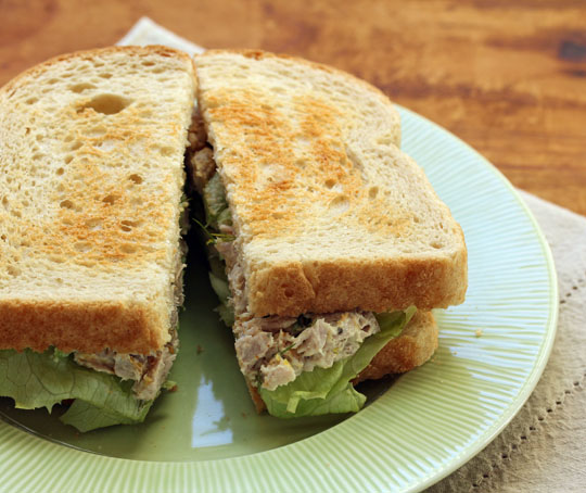 A tuna sandwich on toast, for grown-ups. [ThePerfectPantry.com]