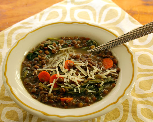 It's so easy to make lentil soup: no presoaking needed! #vegetarian [ThePerfectPantry.com]