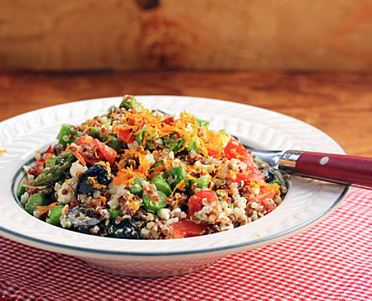 Quinoa rainbow salad with asparagus, feta, and orange vinaigrette, from The Perfect Pantry.