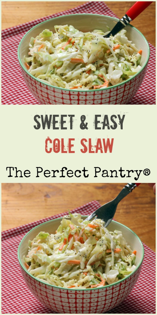 Make this sweet and easy cole slaw in just 5 minutes! Perfect with anything you grill.