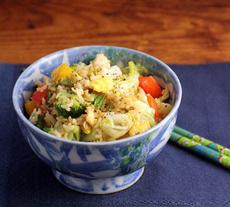 Vegetable fried rice, made with brown rice, one of The Perfect Pantry's 10 favorite recipes.