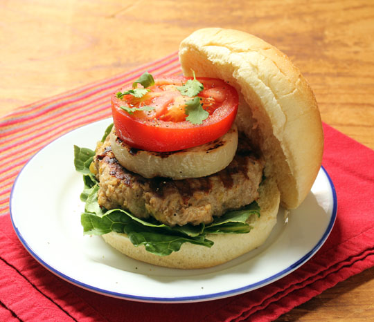 Try these lighter green chile turkey inside-out cheeseburgers: the cheese is inside!