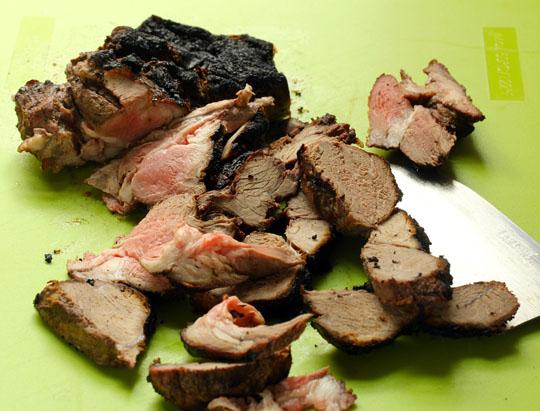 Sliced boneless leg of lamb, hot off the grill.